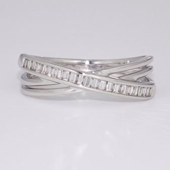 9ct white gold baguette cut diamond crossover ring