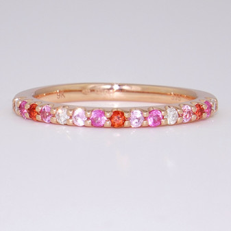 9ct rose gold pink and orange sapphire and diamond ring