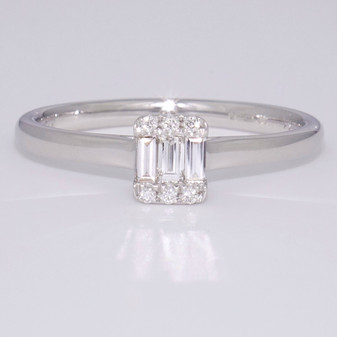 9ct white gold baguette cut and round brilliant cut diamond cluster ring