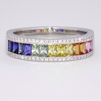 Platinum multicoloured sapphire and diamond ring
