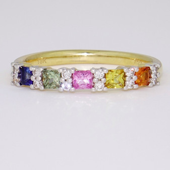18ct gold multicoloured sapphire and diamond ring