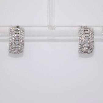 9ct white gold baguette cut and round brilliant cut diamond hoop earrings