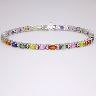 9ct white gold multicoloured sapphire and diamond bracelet
