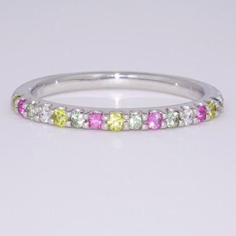 Platinum multicoloured sapphire ring