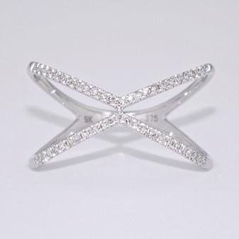 9ct white gold diamond open X ring