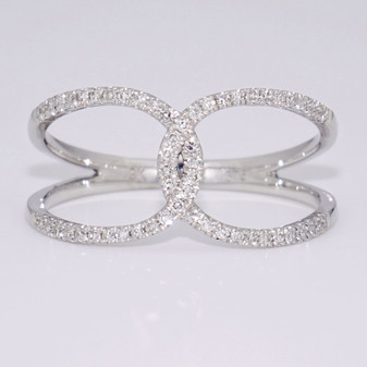 9ct white gold diamond rounded crossover ring