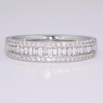 Platinum baguette cut and round brilliant cut diamond ring