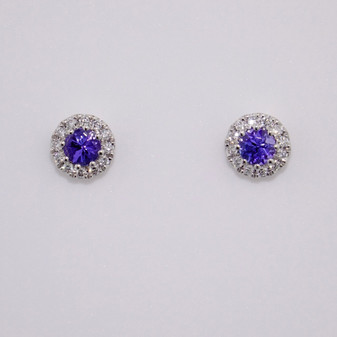 18ct white gold round cut tanzanite and round brilliant cut diamond cluster stud earrings
