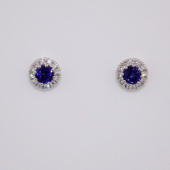 18ct white gold round cut sapphire and round brilliant cut diamond cluster stud earrings