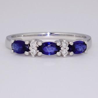 Platinum sapphire and diamond ring