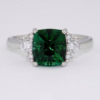 Platinum fancy cut tourmaline and round brilliant cut diamond ring