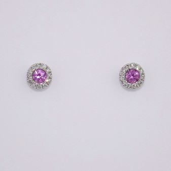 9ct white gold pink sapphire and diamond cluster stud earrings