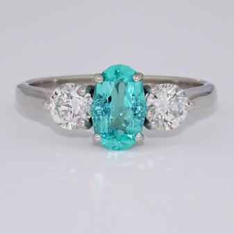 Platinum fancy oval cut Paraiba tourmaline and diamond ring