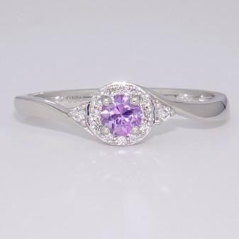 Platinum unheated lilac sapphire and diamond twist ring