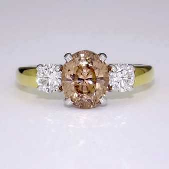 18ct gold cinnamon zircon and diamond ring