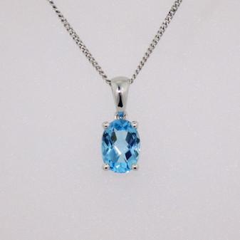 9ct white gold fancy oval cut blue topaz pendant