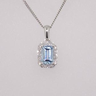 9ct white gold emerald cut aquamarine and diamond cluster pendant