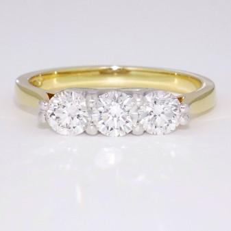 18ct yellow gold and platinum diamond trilogy ring