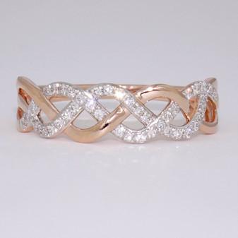 9ct rose gold diamond Celtic weave ring