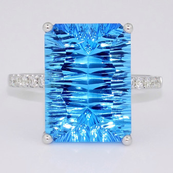 9ct white gold laser cut blue topaz and diamond ring
