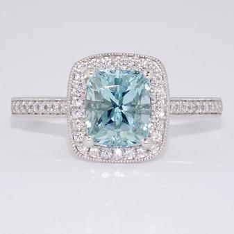 Platinum unheated cushion cut aquamarine and diamond cluster ring