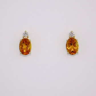 9ct gold oval cut citrine and round brilliant cut diamond stud earrings