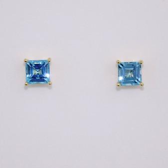 9ct gold square cut blue topaz stud earrings