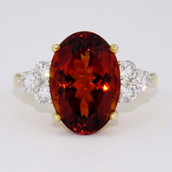 9ct gold large oval cut citrine and round brilliant cut diamond ring