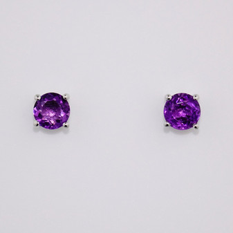 9ct white gold round cut amethyst stud earrings