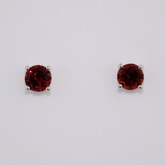 9ct white gold round cut garnet stud earrings