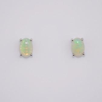 9ct white gold oval cabochon cut opal stud earrings