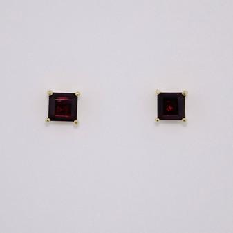 9ct gold square cut garnet stud earrings