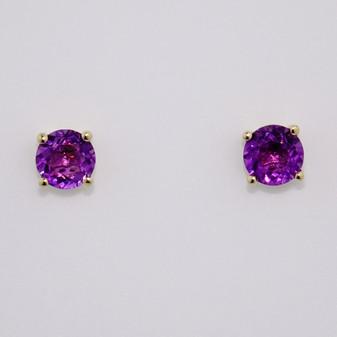 9ct gold round cut amethyst stud earrings