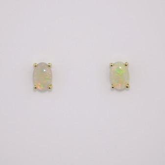 9ct gold oval cabochon cut opal stud earrings