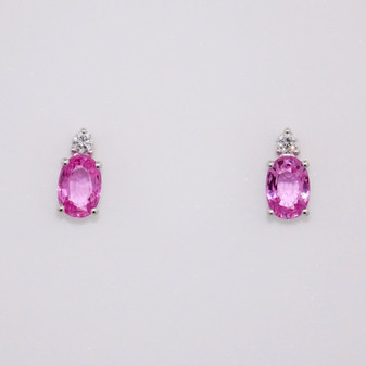 18ct white gold oval cut pink sapphire and round brilliant cut diamond stud earrings