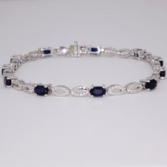9ct white gold sapphire and diamond bracelet