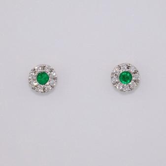 18ct gold emerald and diamond stud earrings