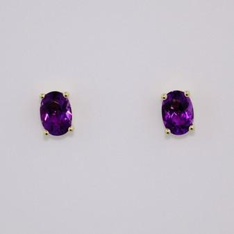 9ct gold oval cut amethyst stud earrings