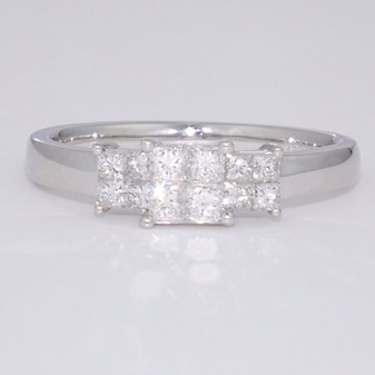 Platinum princess cut diamond triple cluster ring