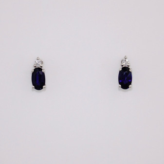 18ct white gold oval cut sapphire and round brilliant cut diamond stud earrings