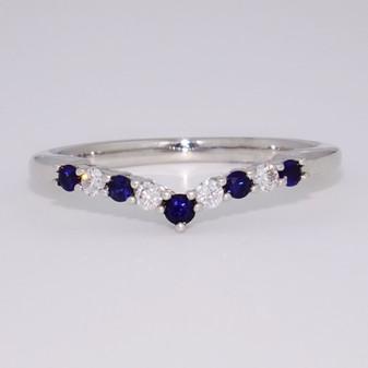 9ct white gold sapphire and diamond wishbone ring