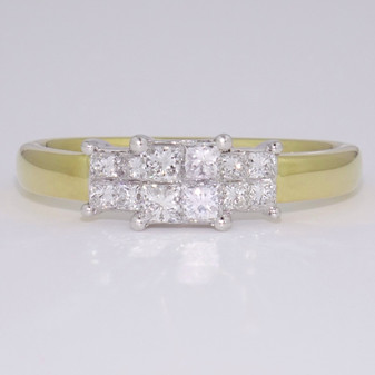 18ct gold princess cut diamond triple cluster ring
