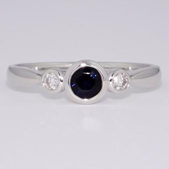 9ct white gold sapphire and diamond three stone rubover ring