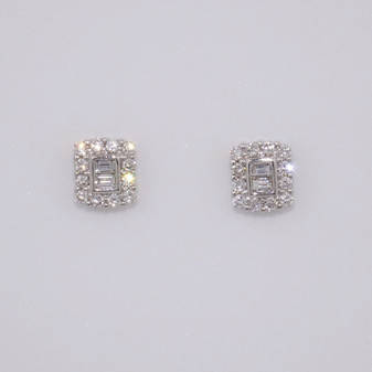 9ct white gold baguette cut and round brilliant cut diamond cluster stud earrings