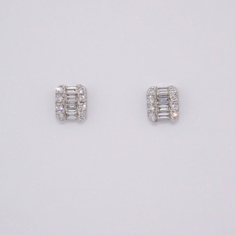 9ct white gold baguette cut and round brilliant cut diamond stud earrings