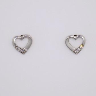 9ct white gold cubic zirconia (CZ) open heart stud earrings