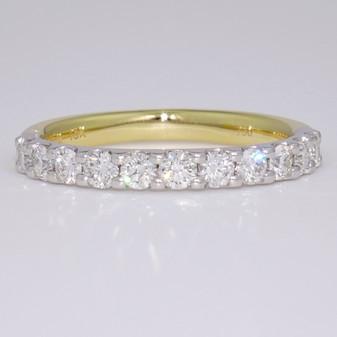 18ct gold low profile round brilliant cut diamond eternity ring