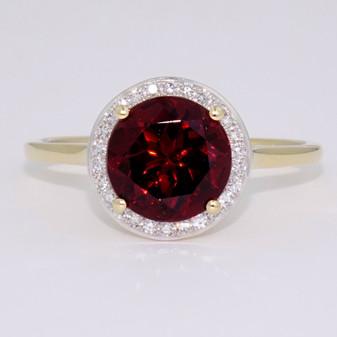 9ct gold round cut garnet and diamond halo ring