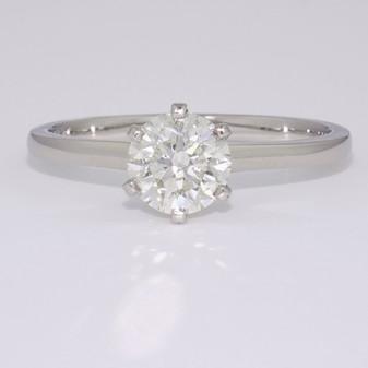 Platinum round brilliant cut diamond solitaire ring