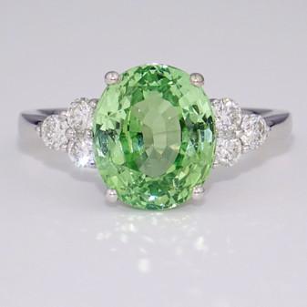 18ct white gold chrysoberyl and diamond ring